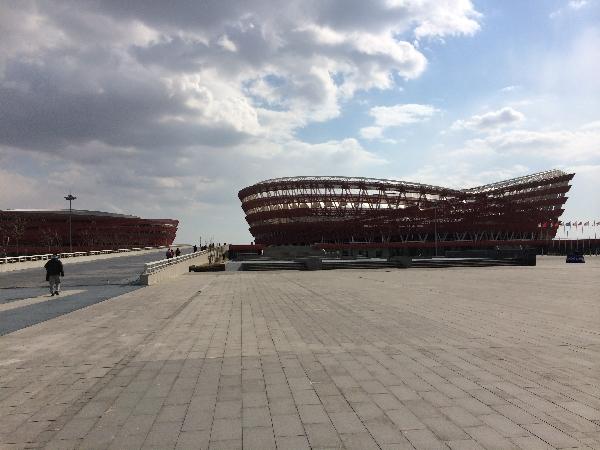 Fußballstadion im Sportpark in Panjin, Liaoning.